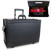 Stebco 341626BLK Wheeled Catalog Case Leather-Trimmed Tufide 21-3/4 x 15-1/2 x 9-3/4 Black