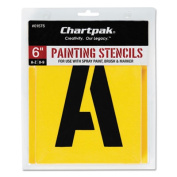 Chartpak CHA01575 Painting Stencil Numbers-Letters- 6in.- Yellow