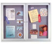 "Enclosed Bulletin Board,2-Door,48""x36"",Satin Aluminum Frame. ."