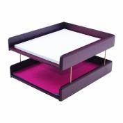 Hardwood Double Letter Desk Tray, Two Tier, Mahogany