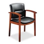 5000 Series Park Avenue Collection Guest Chair, Black Vinyl/Mahogany Finish