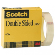 """Double-Sided Office Tape, 1"""" x 36 yards, 3"""" Core, Clear"""