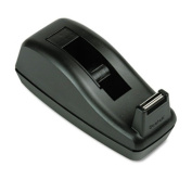 """Deluxe Desktop Tape Dispenser, Attached 1"""" Core, Heavily Weighted, Black"""