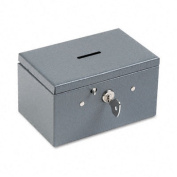 Recycled Steel Stamp and Coin Box w/Double Catch Lock, Gray