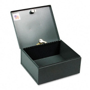 Heavy-Duty Steel Strong Box w/Tumbler Lock, Gray