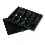 Recycled Plastic 10-Compartment Cash Tray w/Lid, Key Lock, Black