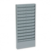 Adjustable 11- or 22-Pocket Time Card Rack, Textured Steel, Gray