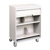 Tambour Locking Medical Cart, 2-Shelf, 26w x 17-3/4d x 34-3/16h, Platinum