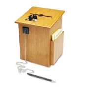 Solid Wood Suggestion Box with Locking Top, 7 1/2 x 7 1/4 x 10, Medium Oak