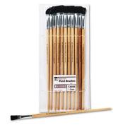 Flat Fine-Grade Natural Bristle Easel Brush, Hardwood Handle, 1.3cm Wide, 12 per pack