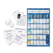 Classroom Management Pocket Chart with Cards, Blue, 23 3/4 x 40 3/4