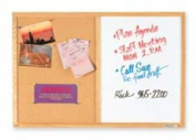 Combo Bulletin Board, Dry-Erase Melamine/Cork, 48 x 36, White, Oak Frame