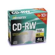 CD-RW Discs, 700MB/80min, 4x, w/Slim Jewel Cases, Silver, 10/Pack
