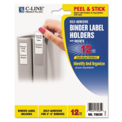 Self-Adhesive Ring Binder Label Holders, Top Load, 2 1/4 x 3, Clear, 12/Pack