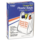 """Thank You"" Bags, Printed, Plastic, .5mil, 11 x 22, White, 250/Box"