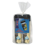 Bistro Trophy Combo Pack, Foam, 12 oz, 50 Cups and Lids/Pack