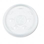 Dart 16FTLS Translucent Lids for 12-24 oz. Foam Cups- Straw Slot- 1000/Carton