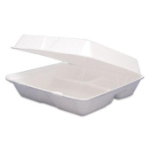 DRC 85HT3 Carryout Food Containers Foam Hinged 3-Compartment 8-3/8 x 7-7/8 x 3-1/4 200/CT