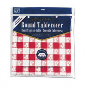 "Plastic Tablecovers, Red Gingham Pattern, 82"" Round"
