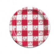 Paper Plates, 17.8cm Diameter, Red Gingham Pattern, 25/Pack