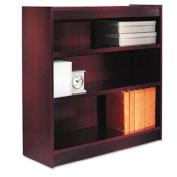 Square Corner Wood Veneer Bookcase, Three-Shelf, 35-5/8 x 11-3/4 x 36, Mahogany