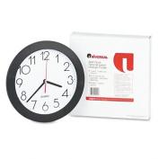 "Round Wall Clock, 9-3/4"", Black"