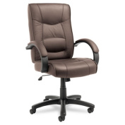 Alera(R) Strada Series High-Back Leather Chair, 120cm .H x 50cm .W x 50cm .D, Black Frame, Brown Leather