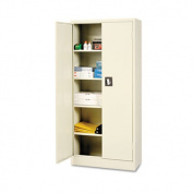 """Space Saver 66"""" High Storage Cabinet, 4 Fixed Shelves, 30w x 15d x 66h, Putty"""