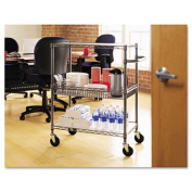 Alera SW543018BA Three-Tier Wire Rolling Cart With Handle- 30w x 18d x 40h- Black Anthracite