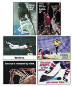 """Assorted """"Sports"""" Themed Motivational Prints, 13 3/8 x 9, 6/Pack"""