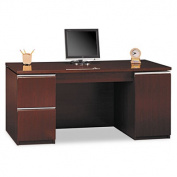"66""W Double Pedestal Kneespace Credenza (F/F,D) Milano 2, Harvest Cherry"