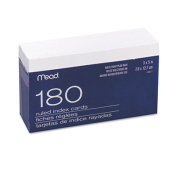 Index Cards w/Tray, 3 x 5, White, 180/Pack. Includes 180 index cards and one tray.