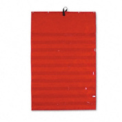 Original Pocket Chart with 10 Clear Pockets, Sturdy Grommets, Red, 34 x 52