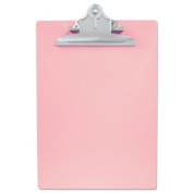 """Recycled Plastic Clipboards, 1"""" Capacity, Holds 8 1/2w x 12h, Pink"""