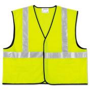 MCR Safety VCL2SLXL Class 2 Safety Vest- Fluorescent Lime w/Silver Stripe- Polyester- XL