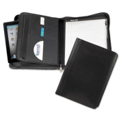Samsill 70730 Leather Zipper Close Padfolio with Pad Document File and Organizer Slots Black