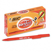 Soft Feel Ballpoint Stick Pen, Red Ink, Medium, Dozen