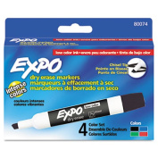 Expo 80074 Low Odor Dry Erase Markers Chisel Tip Basic Assorted 4-Set