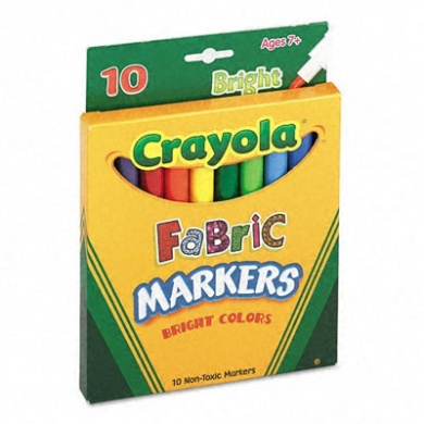 Fabric Markers, Ten Assorted Bright Colors, 10/Box
