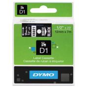 D1 Standard Tape Cartridge for Dymo Label Makers, 1/2in x 23ft, White on Black