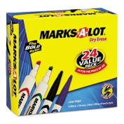 Marks-A-Lot 29870 Desk Style Dry Erase Markers Chisel Tip Assorted 24-Pack