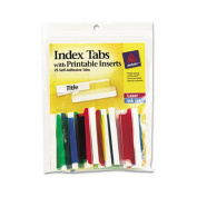 Self-Adhesive Tabs with White Printable Inserts, Two Inch, Assorted Tab, 25/Pack