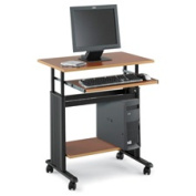 Adjustable Height Workstation, 29-1/2 x 22d x 34h, Oak/Black