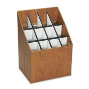 Corrugated Roll Files, 12 Compartments, 15w x 12d x 22h, Woodgrain