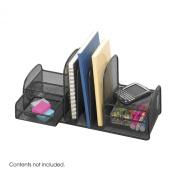 Onyx Mesh Desk Organizer, Three Sections/Two Baskets, 17 x 6 3/4 x 7, Black