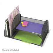 Safco 3264BL Onyx Mesh Desk Organizer - 2 Horizontal - 2 Upright - Black
