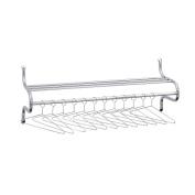 Chrome-Plated Shelf Rack, 12 Non-Removable Hangers, 49w x 14d x 19h, Metal