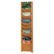 Safco 4331MO Medium Oak 12-Pocket Wood Magazine Rack