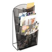 Safco Products Company SAF5641BL Pamphlet Display- Mesh- 4-Pockets- 5-.25in.x7in.x16-.50in.- Black