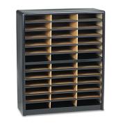 Steel/Fiberboard Literature Sorter, 36 Sections, 32 1/4 x 13 1/2 x 38, Black
